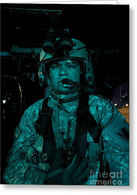 Night Angel Greeting Cards - Uh-60 Black Hawk Crew Chief Greeting Card by Terry Moore