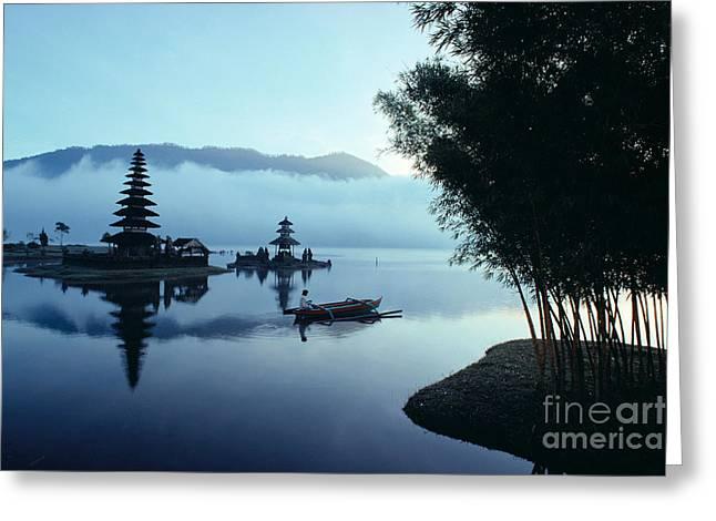 Ulu Danu Temple Greeting Card by William Waterfall - Printscapes