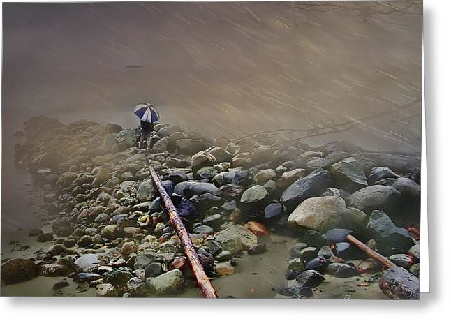 Umbrella On The Rocks Greeting Card by Dale Stillman