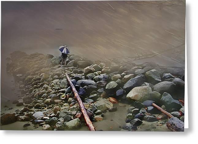 Umbrella On The Rocks Greeting Card by Dale Stillman