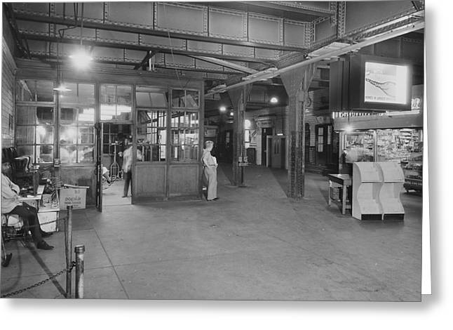 Underneath The Chicago Passenger Terminal Commuter Concourse - 1961 Greeting Card