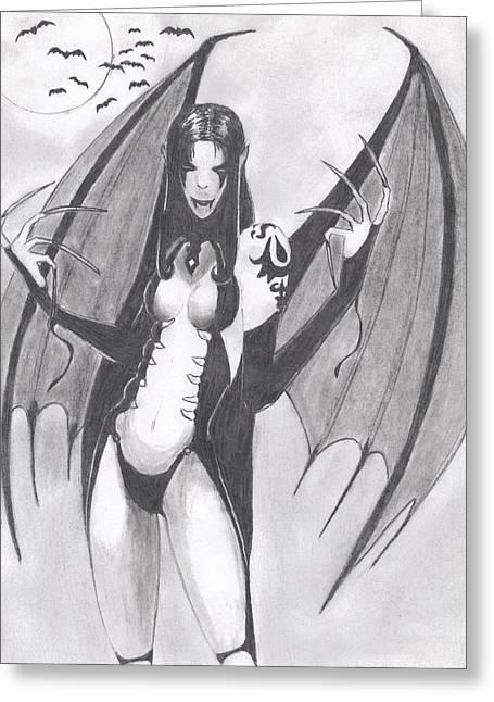 Vampire Greeting Card by Josh Bennett
