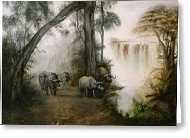 Victoria Falls Greeting Card by Riek  Jonker