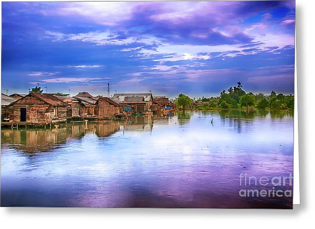 Greeting Card featuring the photograph Village by Charuhas Images