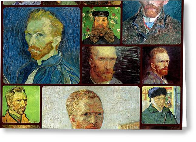 Vincent Van Gogh Self Portrait Collage Greeting Card by Celestial Images