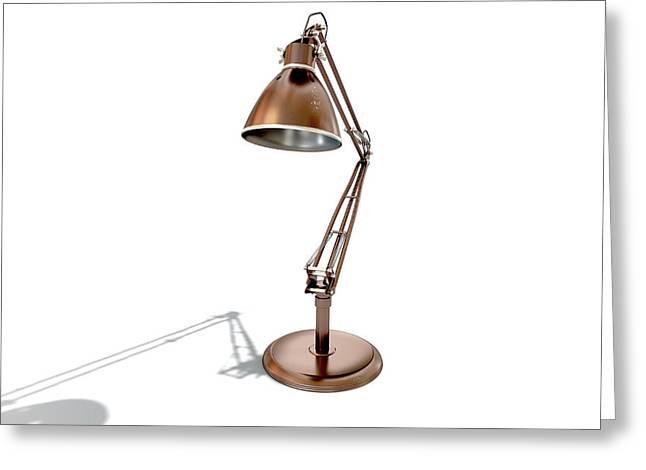 Vintage Copper Desk Lamp Greeting Card by Allan Swart