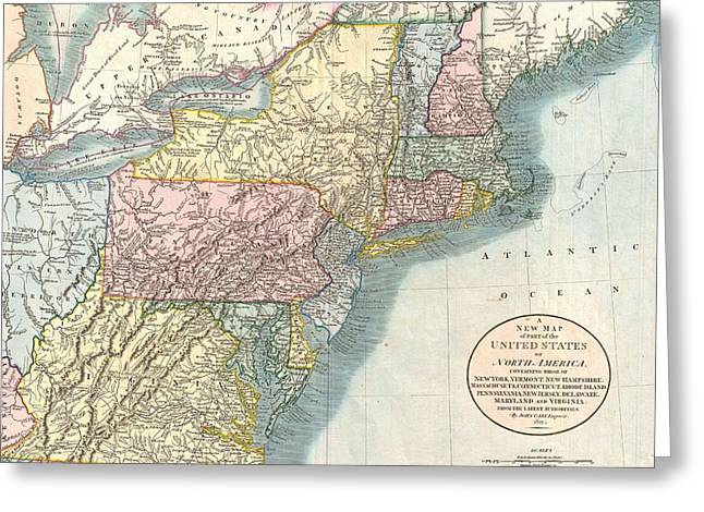 Vintage Map Of New England  Greeting Card by CartographyAssociates