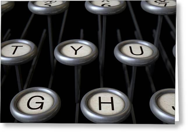 Vintage Typewriter Keys Close Up Greeting Card by Allan Swart