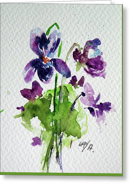 Greeting Card featuring the painting Violet by Kovacs Anna Brigitta