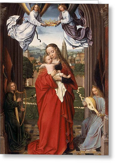 Virgin And Child With Four Angels Greeting Card by Gerard David