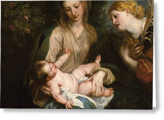 Virgin And Child With Saint Catherine Of Alexandria Greeting Card