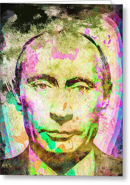 Vladimir Putin Greeting Card by Svelby Art