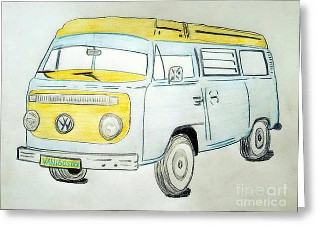 Volkswagon Camper Van Greeting Card by Scott D Van Osdol