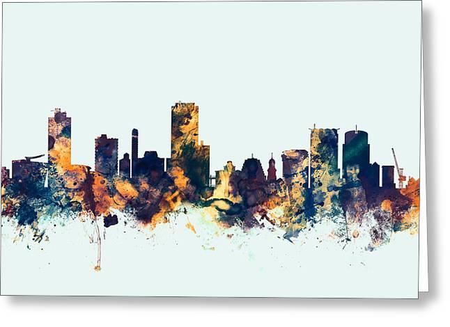 Wellington New Zealand Skyline Greeting Card by Michael Tompsett