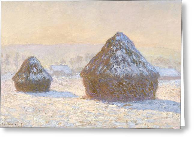 Wheatstacks Greeting Card by Claude Monet