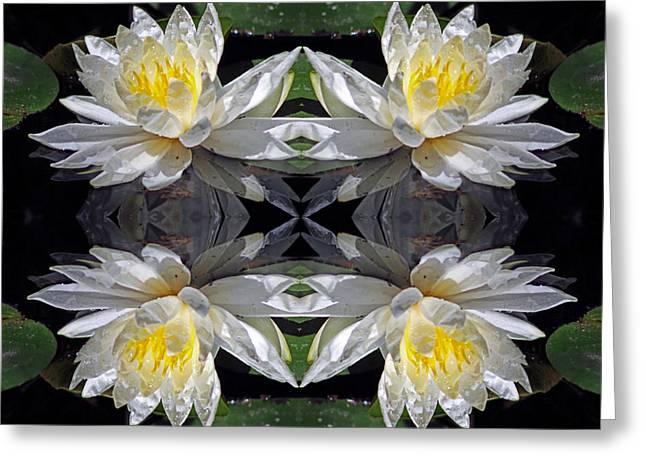 White Lotus Mandala Greeting Card by Daniel Unfried