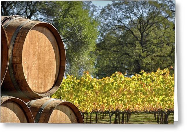 Wine Barrel Greeting Card
