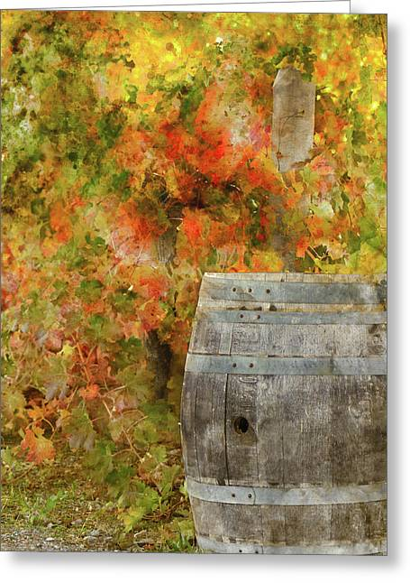 Wine Barrel In Autumn Greeting Card