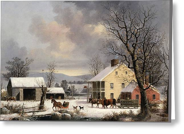 Winter In The Country Greeting Card by George Henry Durrie