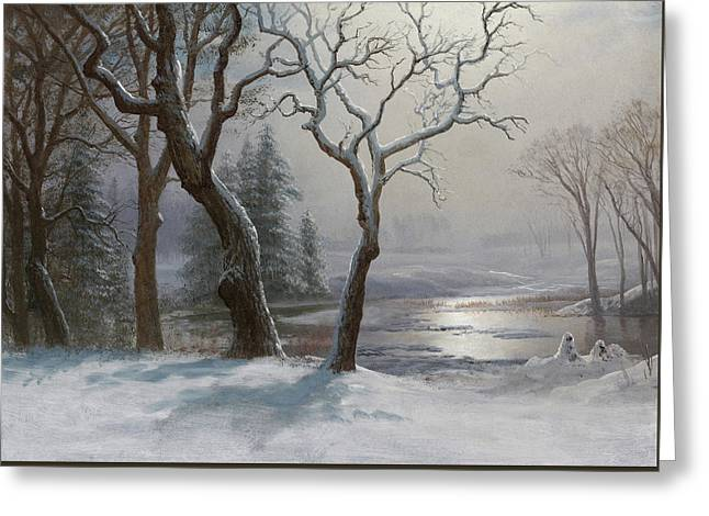 Winter In Yosemite Greeting Card by Albert Bierstadt