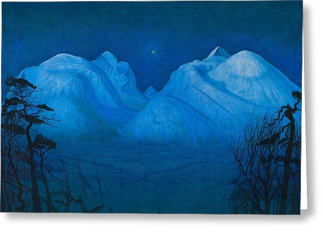 Winter Night In The Mountains Greeting Card