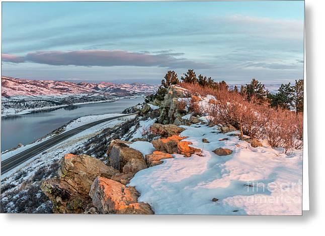 winter sunrise over Horsetooth Reservoir Greeting Card