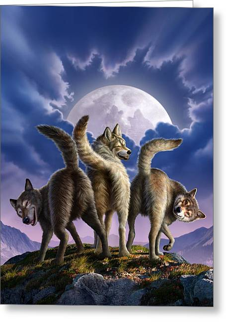 3 Wolves Mooning Greeting Card