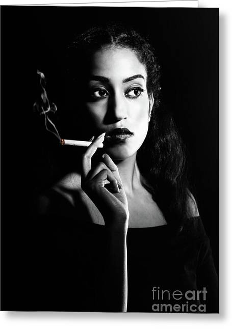 Woman Smoking Greeting Card by Amanda Elwell
