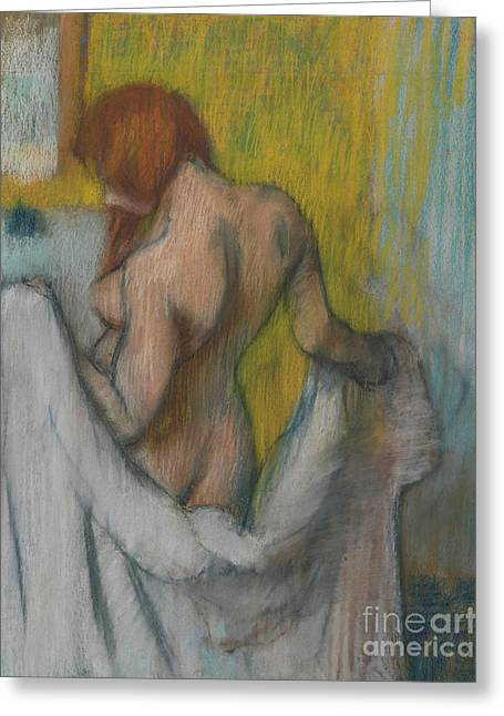 Woman With A Towel Greeting Card by Edgar Degas