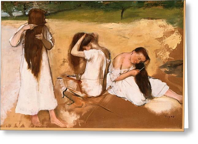 Women Combing Their Hair Greeting Card by Edgar Degas