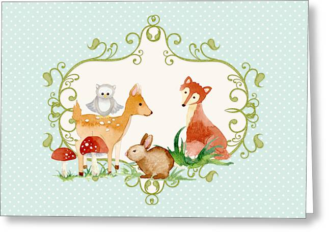 Woodland Fairytale - Animals Deer Owl Fox Bunny N Mushrooms Greeting Card