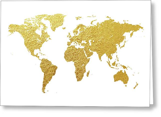 World Map Gold Foil Greeting Card by Michael Tompsett