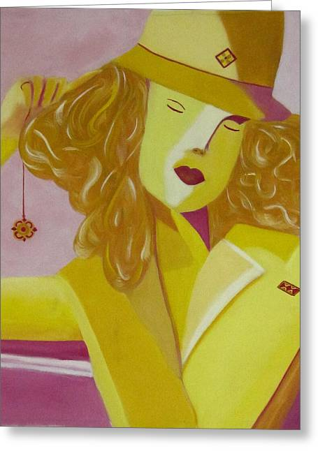 Yellow Hat Greeting Card by Patricia Cleasby