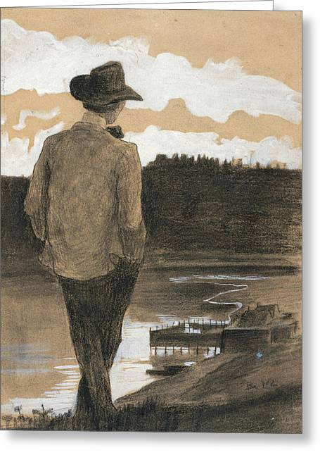 Young Man On A Riverbank Greeting Card