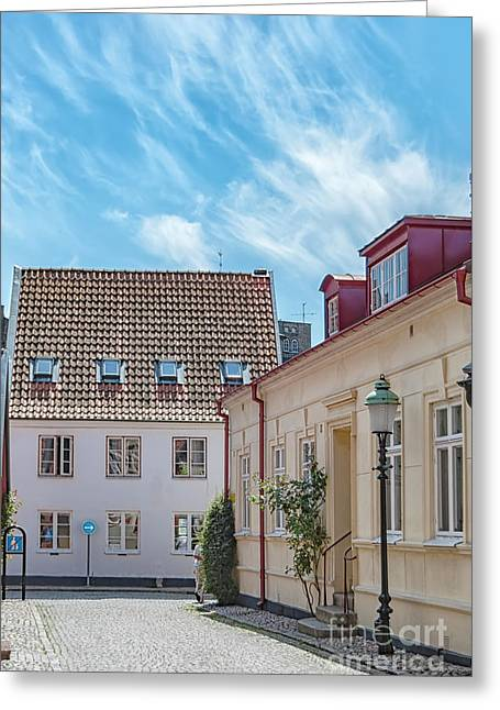 Greeting Card featuring the photograph Ystad Street Scene by Antony McAulay