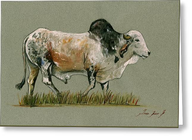 Zebu Cattle Art Painting Greeting Card