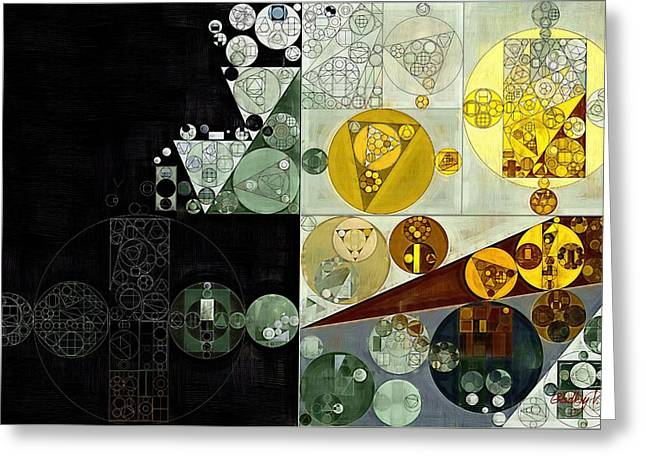 Greeting Card featuring the digital art Abstract Painting - Smoky Black by Vitaliy Gladkiy