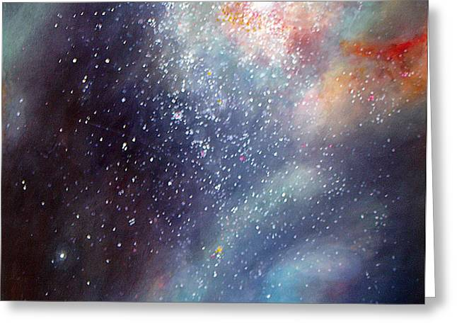 Greeting Card featuring the painting 30 Doradus Nebula by Allison Ashton
