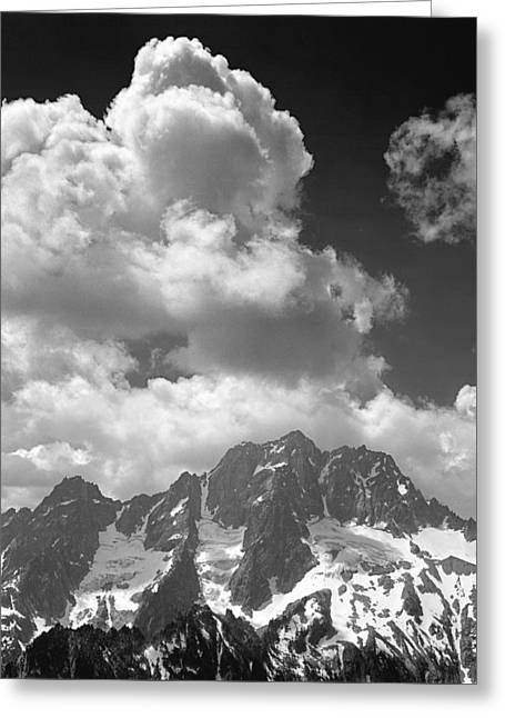 304638 Clouds Over Mt. Stuart Bw Greeting Card