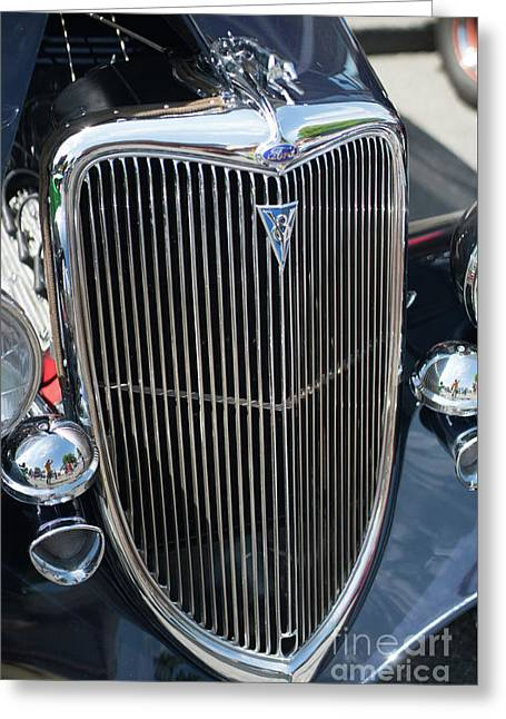 30s Vintage Ford Hotrod With Chrome Greyhound Greeting Card