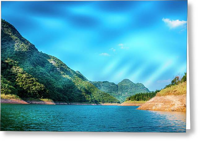 The Mountains And Reservoir Scenery With Blue Sky Greeting Card