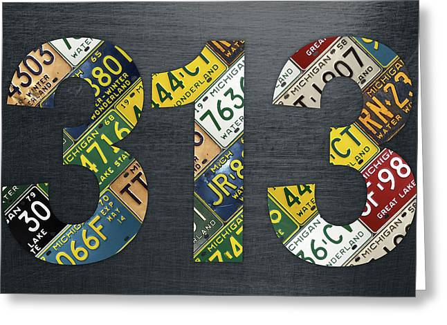 313 Area Code Detroit Michigan Recycled Vintage License Plate Art Greeting Card by Design Turnpike