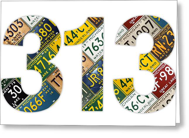 313 Area Code Detroit Michigan Recycled Vintage License Plate Art On White Background Greeting Card by Design Turnpike