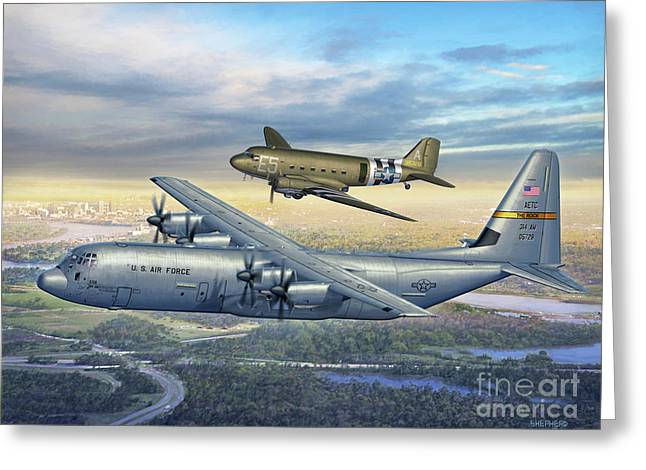 314th Aw Legacy - C-130j And C-47 Greeting Card