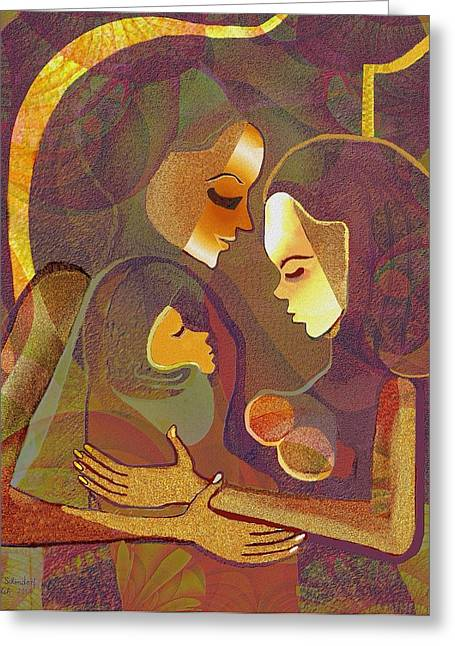 317 - Women - Child    Greeting Card by Irmgard Schoendorf Welch