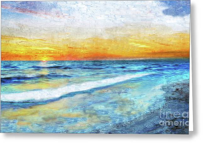 Seascape Sunrise Impressionist Digital Painting 31a Greeting Card