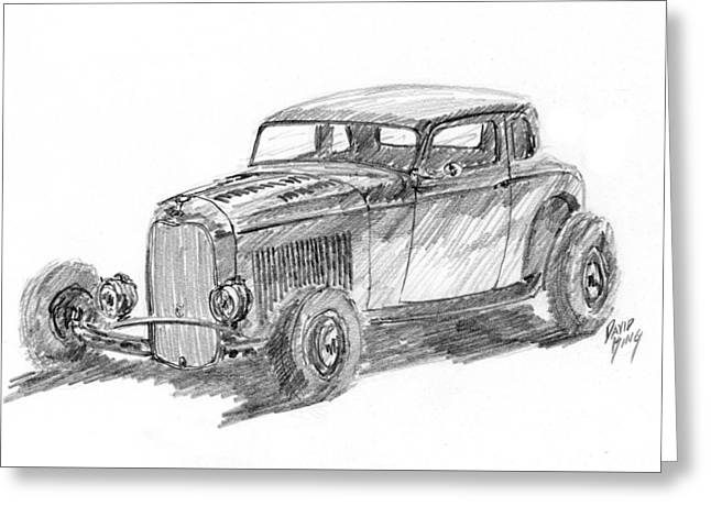 32 Ford Hot Rod Sketch Greeting Card