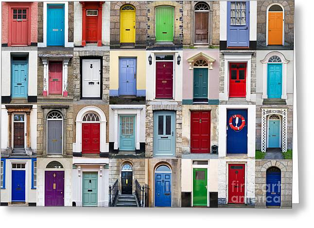 32 Front Doors Horizontal Collage  Greeting Card by Richard Thomas