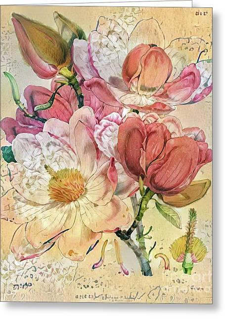 Shabby Chic Botanical Flowers Greeting Card