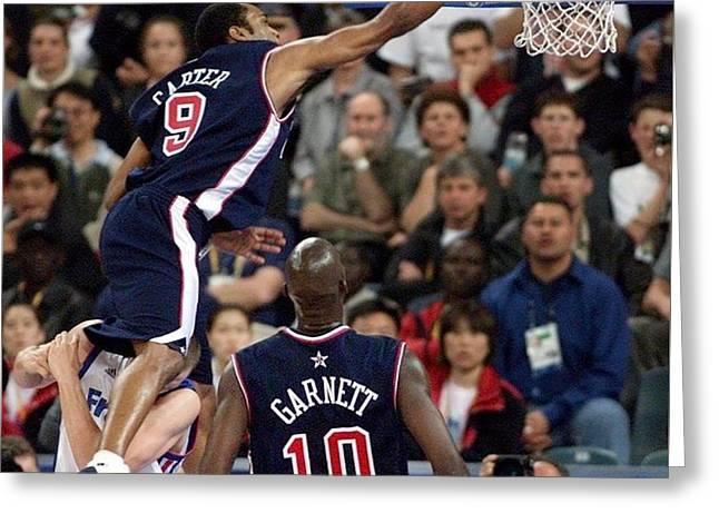 32036 Vince Carter Nba Basketball Dunks 748x749 Greeting Card
